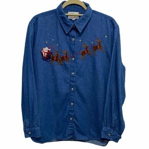 Vintage Embroidered Christmas Button Up Shirt